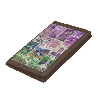Purple Green Landscape Wallet - Postage Stamp Art