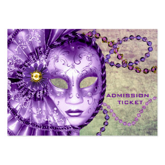 Purple Green Masquerade Party Admission Tickets Business Cards