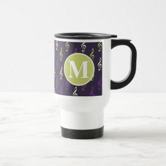 Purple Green Music Note Pattern Monogram Stainless Steel Travel Mug