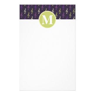 Purple Green Music Note Pattern Monogram Custom Stationery