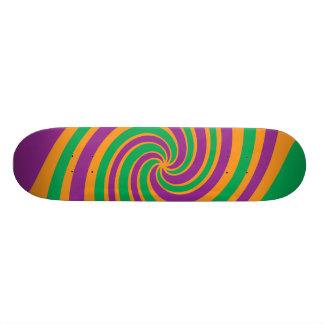 Purple green orange swirl skate board deck