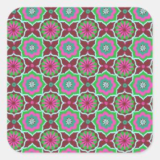 Purple green oriental pattern square sticker