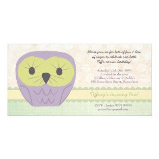 Purple & Green Owl 1st Birthday Party Invite Customized Photo Card