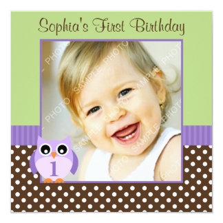 Purple Green Owl Polka Dot 1st Birthday Girl Photo 13 Cm X 13 Cm Square Invitation Card