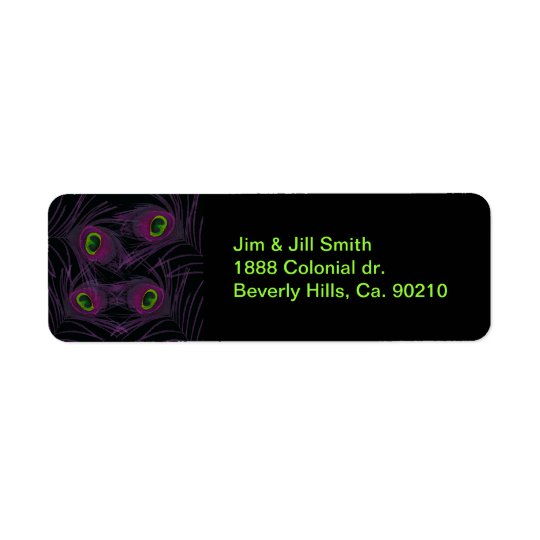Purple & Green Peacock Feather Collage Return Address Label