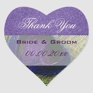 Purple green peacock wedding engagement stickers