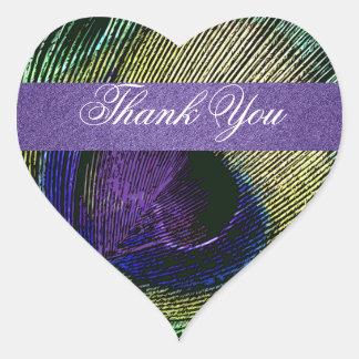 "Purple green peacock wedding ""thank you"" heart sticker"