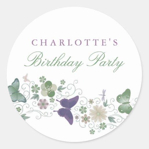 Purple & Green Pretty Butterfly Birthday Sticker
