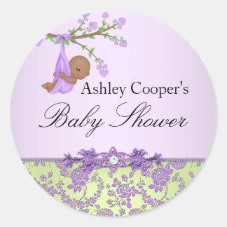 Purple & Green Rose Garden Baby Shower Sticker