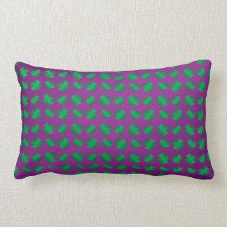Purple green shamrocks and hearts lumbar pillow