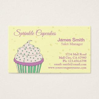 Purple Green Sprinkle Cupcake Bakery Business Card