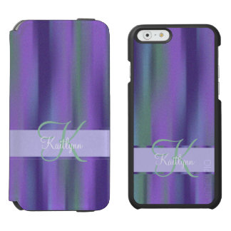 Purple Green Stripe Monogram Incipio Watson™ iPhone 6 Wallet Case