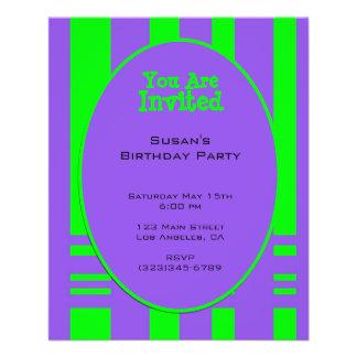 purple green stripe party 11.5 cm x 14 cm flyer