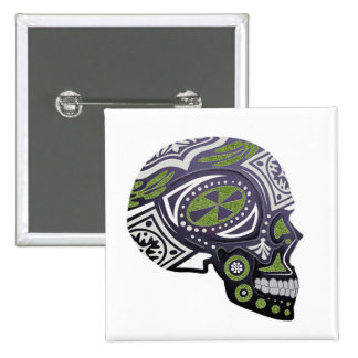 Purple Green Sugar Skull Skeleton 15 Cm Square Badge