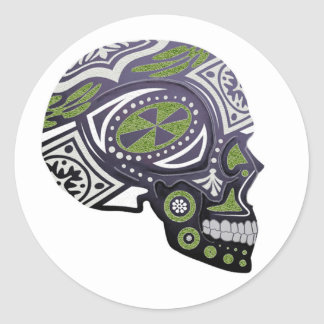 Purple Green Sugar Skull Skeleton Classic Round Sticker