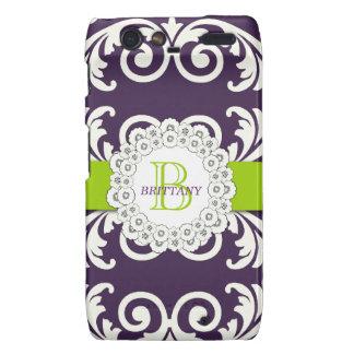 Purple Green Swirls Floral RAZR Case Droid RAZR Covers