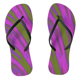 Purple Green Swish Design Thongs