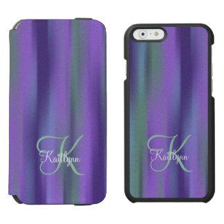 Purple Green Textured Abstract Monogram Incipio Watson™ iPhone 6 Wallet Case