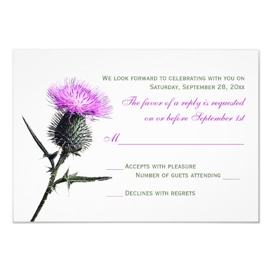 Purple Green Thistle Wedding RSVP Card