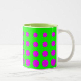 Purple & Green  Vector abstract dot Two-Tone Coffee Mug