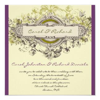 Purple Green Vintage Floral Wedding Invitation