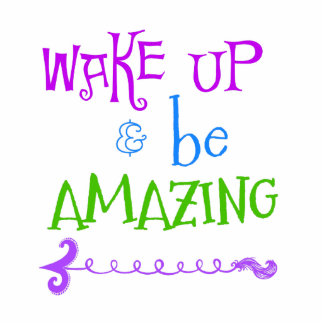Purple, Green Wake up; Be Amazing Photo Sculpture Key Ring