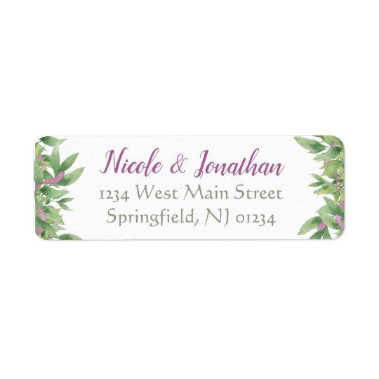Purple & Green Watercolor Leaves - Return Address Return Address Label