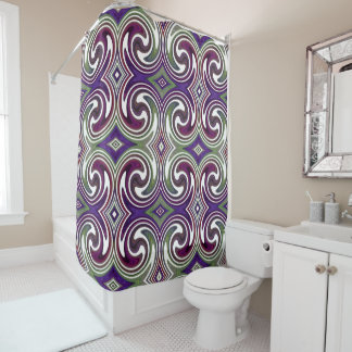 Purple Green White Abstract Swirl Pattern Shower Curtain