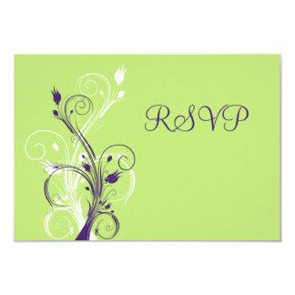 Purple Green White Floral RSVP Card 9 Cm X 13 Cm Invitation Card