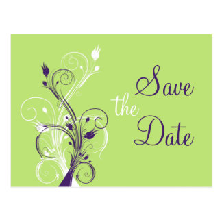 Purple Green White Floral Save the Date Post Card