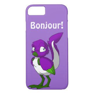 Purple/Green/White Reptilian Bird Bonjour iPhone 8/7 Case
