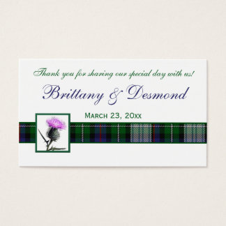 Purple, Green, White Tartan and Thistle Favor Tag