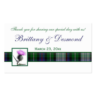 Purple, Green, White Tartan and Thistle Favour Tag Business Card Template