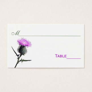 Purple, Green, White Thistle Flower Place Cards