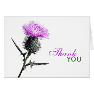 Purple, Green, White Thistle Thank You Card