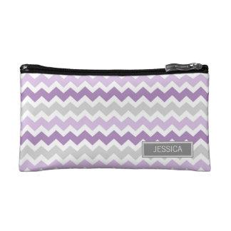 Purple Grey Chevrons Pattern Custom Name Bag Makeup Bag