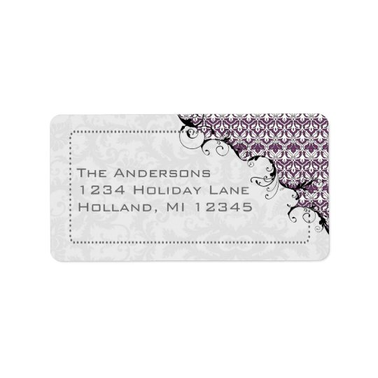 Purple & Grey Damask Swirled Return Address Label