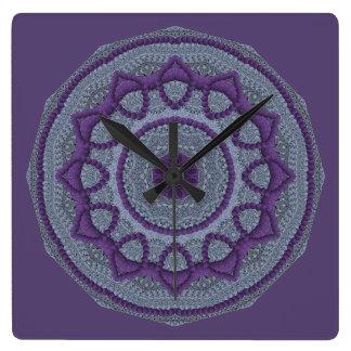 Purple Grey Mandala Square Wall Clock