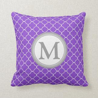 Purple And Gray Decorative Pillows : Purple Gray And White Quatrefoil Cushions, Purple Gray And White Quatrefoil Throw Cushions