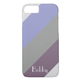 Purple Grey Stripe Monogram Name Customize iPhone 8/7 Case