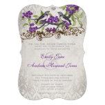 Purple & Grey Vintage Birds Damask Wedding Invite