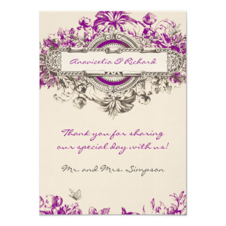 Purple Grey Vintage Floral Wedding Thank You Card