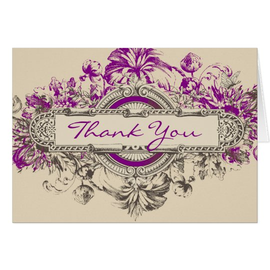 Purple Grey Vintage Floral Wedding Thank You Card