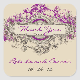 Purple Grey Vintage Floral Wedding Thank You Square Sticker