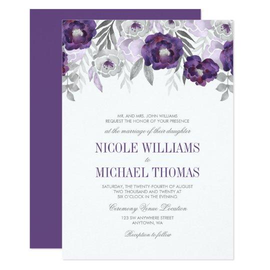 Purple Grey Watercolor Flowers Wedding Invitations