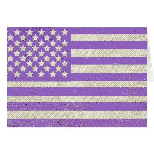 Purple grunge American flag Cards