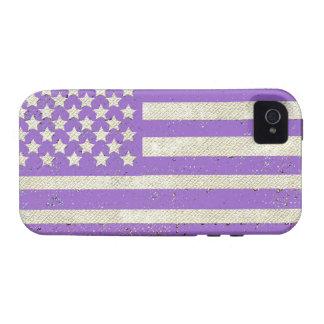 Purple grunge American flag iPhone 4/4S Case