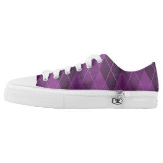Purple Grunge Argyle Low Tops