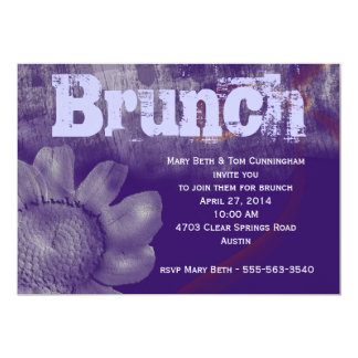 Purple Grunge Brunch Party Card