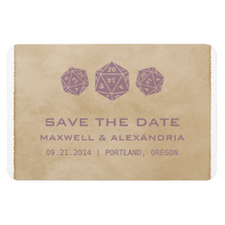 Purple Grunge D20 Dice Gamer Save the Date Magnet